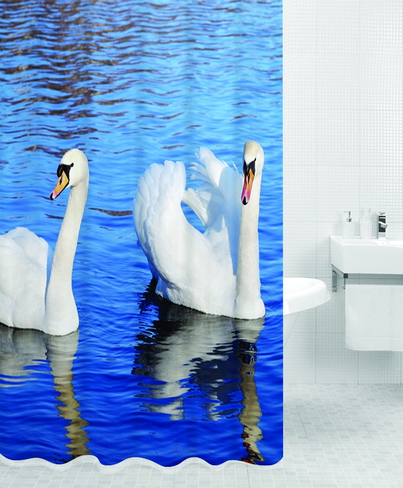 Штора для ванной BATH PLUS SWANS, синий