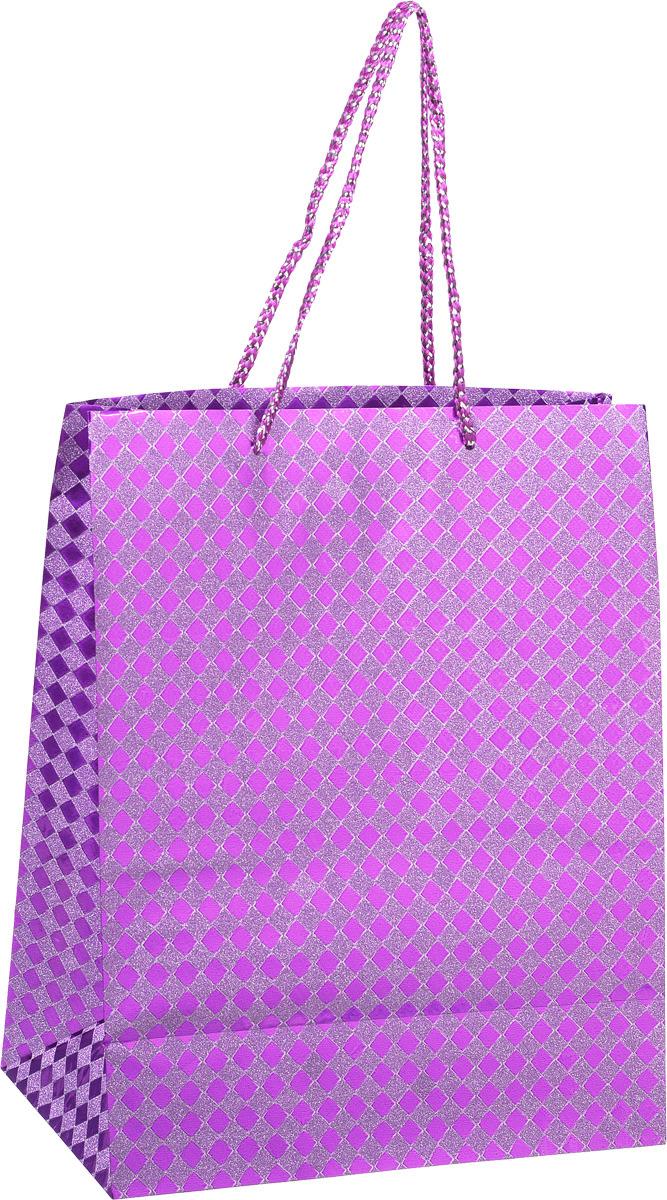 Пакет подарочный Яркий Праздник Клетка, цвет: фиолетовый, 26 х 32 х 12,7 см пакет подарочный клетка 26 х 32 х 10 см в ассортименте