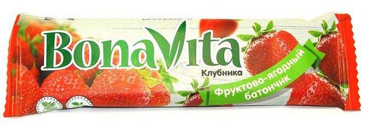 Батончик фруктово-ягодный Bona Vita Клубника, 40 г