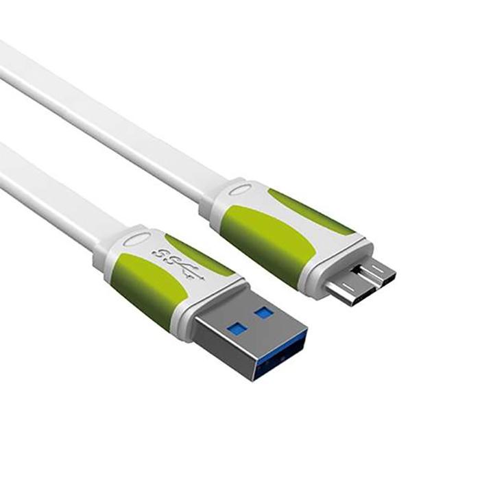 Кабель USB3.0 - microUSB, плоский, белый/зеленый