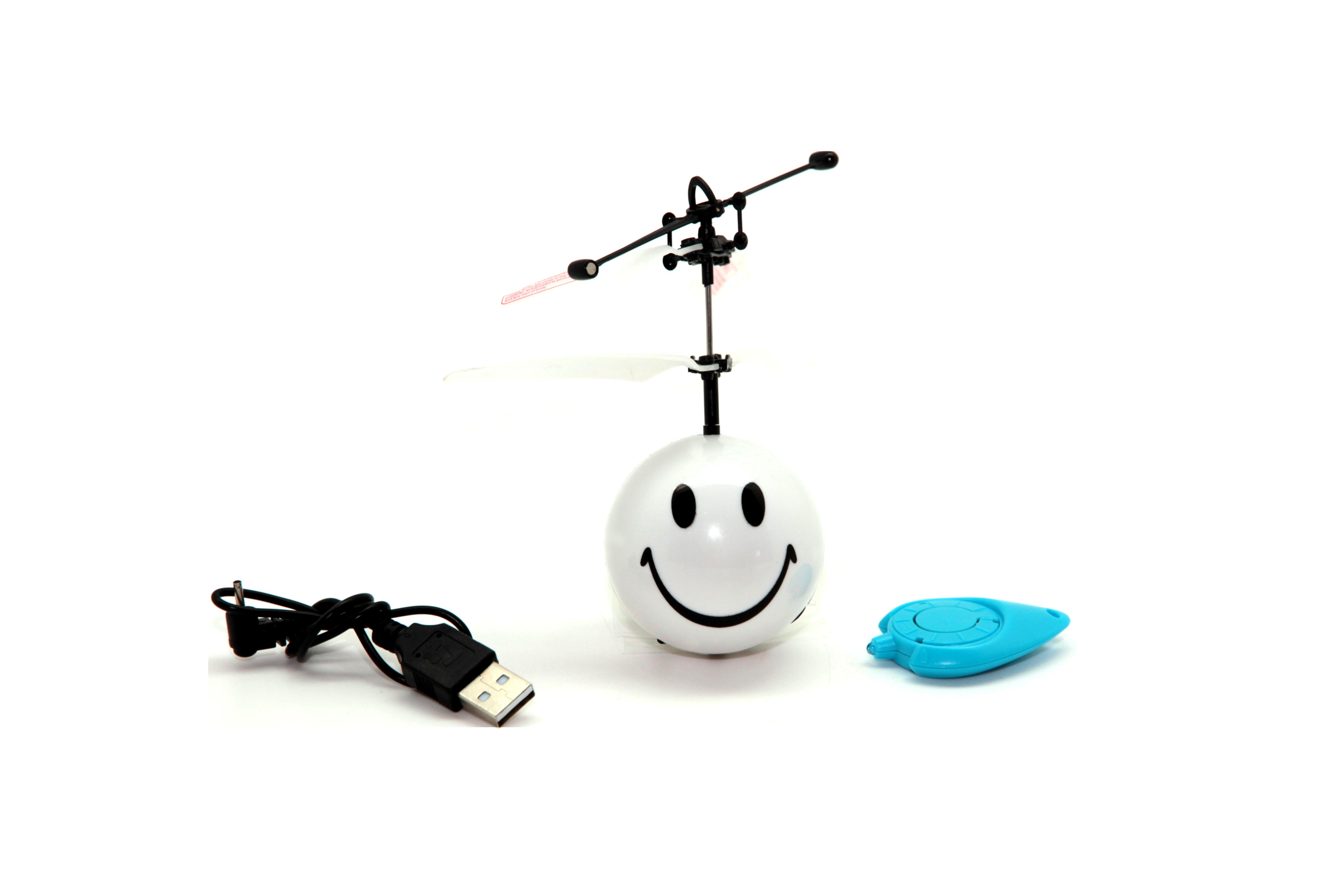 Игрушка радиоуправляемая Balbi FB-002W, A0G1082761 белыйA0G1082761Мини-флаер - игрушка с дистанционным управлением на инфракрасных лучах, встроенным электронным гироскопом, световыми эффектами. Мини-флаер двигается вверх и вниз. Запуск можно осуществлять внутри помещений. Управляется с пульта-брелока. Нажмите кнопку на брелоке, у мини-флаера заработает мотор, закрутятся лопасти. Отпустите мини-флаер, летая, игрушка будет отталкиваться от препятствий и снова подниматься вверх. Время зарядки - 20-30 минут (заряжается через USB). Время беспрерывного полета - 5-8 минут. Батарейки для брелока - CR2032 3V (в комплекте). Вид: Смайлик.