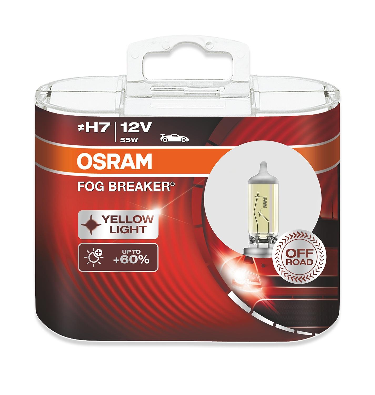 Лампа автомобильная Osram FOR BREAKER 55 Вт, Галогенная автомобильная лампа h3 55w fog breaker 2 шт osram