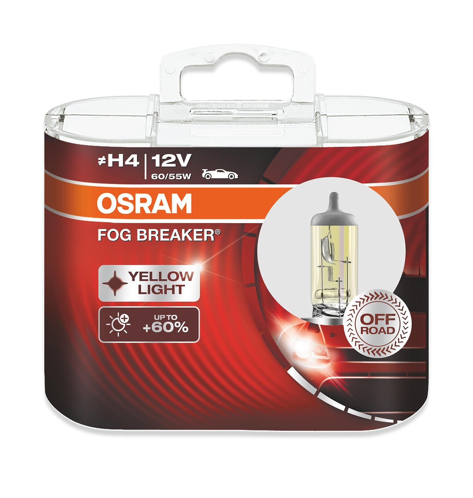 Лампа автомобильная Osram FOR BREAKER 60/55 Вт, Галогенная автомобильная лампа h3 55w fog breaker 2 шт osram