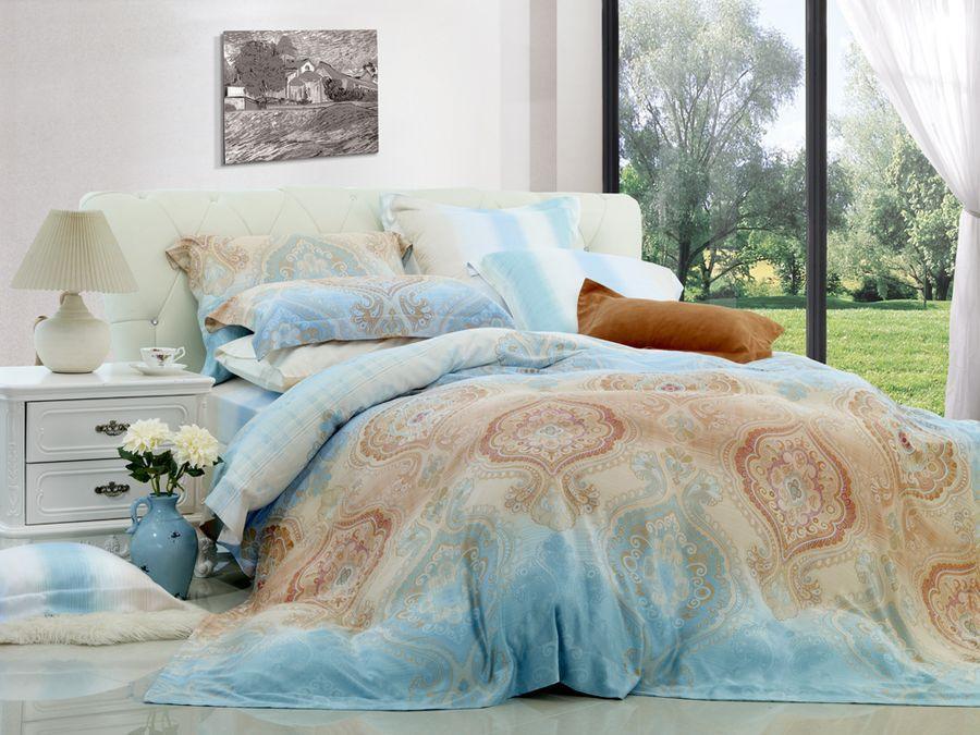 Комплект постельного белья Guten Morgen Перкаль, П-577-200-240-50, голубой, евро, наволочки 50x70