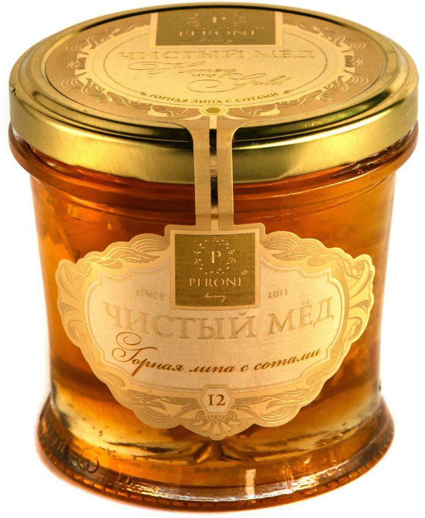 Мед чистый Peroni Honey Горная липа с сотами, 290 г