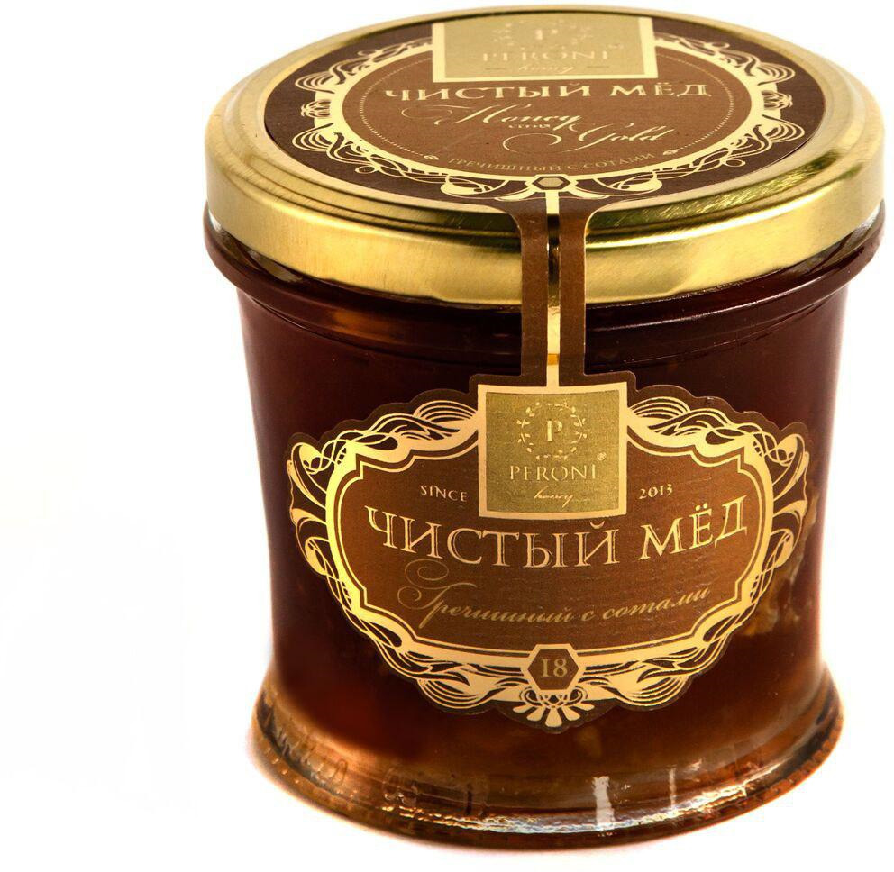 Мед чистый Peroni Honey Гречишный с сотами, 290 г