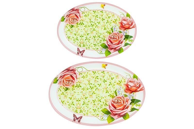 Набор 2 блюд 24,5х17,5х1,5 см и 29,5х20х2 см Elan Gallery Розы