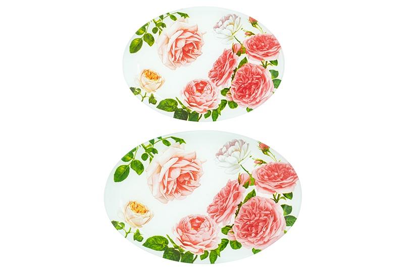 Блюдо Elan Gallery Цветущая роза, 890379, белый, розовый, зеленый890379Набор из двух блюд овальной формы выполнен из качественного стекла с классическим рисунком. Блюда идеальны для сервировки нарезки, овощей, закусок. Набор компактно упакован.