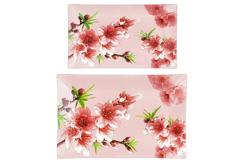 Набор 2 блюд 29х19х2,5 см и 24,5х15х2 см Elan Gallery Яблоневый цвет на розовом
