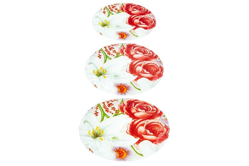 Набор 3 блюд 34х24х2 см, 29,5х20х2 см и 24х14х1,5 см Elan Gallery Цветочная гармония