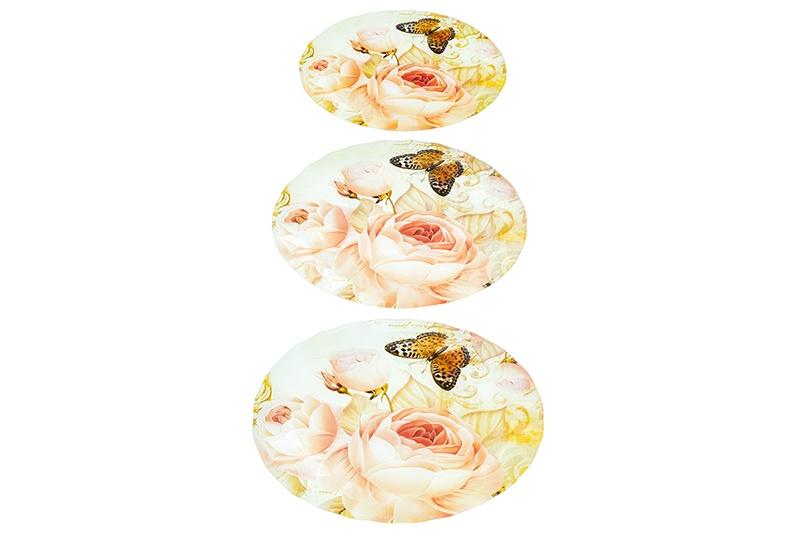 Набор 3 блюд 34х24х2 см, 29,5х20х2 см и 24х14х1,5 см Elan Gallery Розовый сад