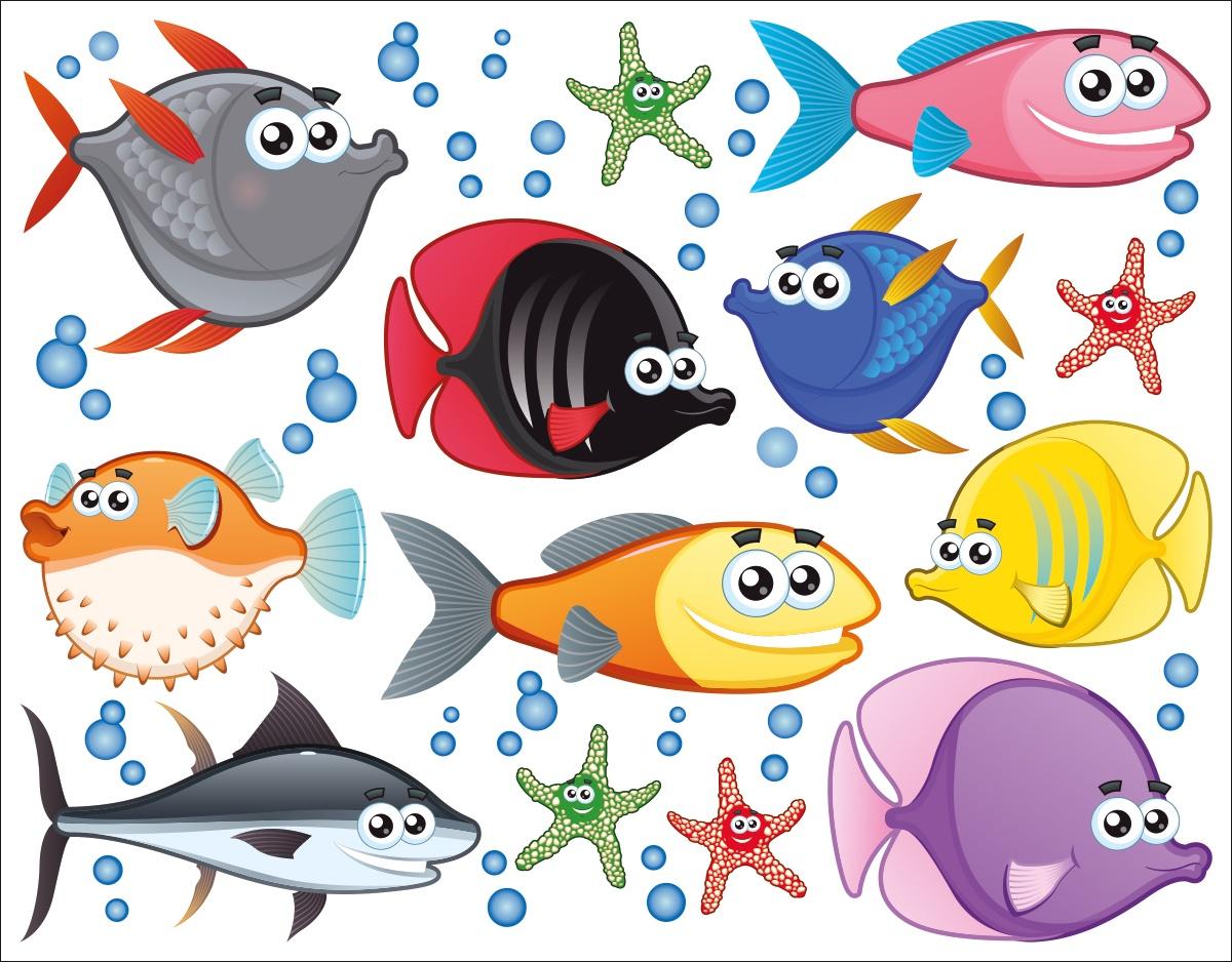 Наклейка ОранжевыйСлоник интерьерная Рыбы с сильным клеевым слоем, Винил интерьерные наклейки homedeco наклейка интерьерная кошки 15х20 см