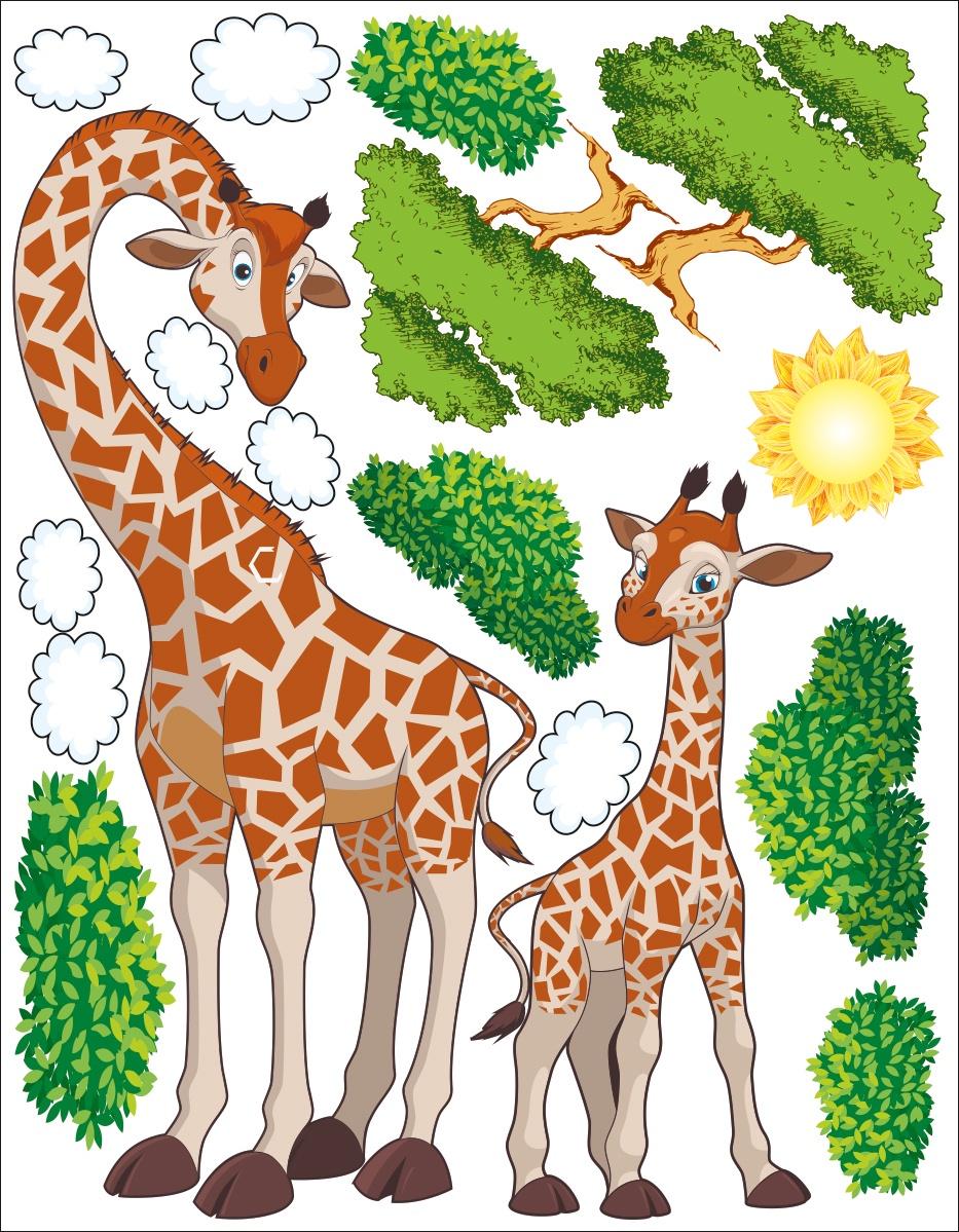 Наклейка ОранжевыйСлоник интерьерная Жирафики с сильным клеевым слоем, Винил интерьерные наклейки homedeco наклейка интерьерная кошки 15х20 см