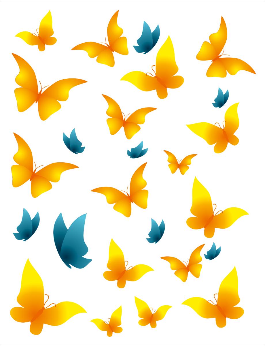 Наклейка ОранжевыйСлоник интерьерная Бабочки желто-синие с сильным клеевым слоем, Винил интерьерные наклейки homedeco наклейка интерьерная кошки 15х20 см
