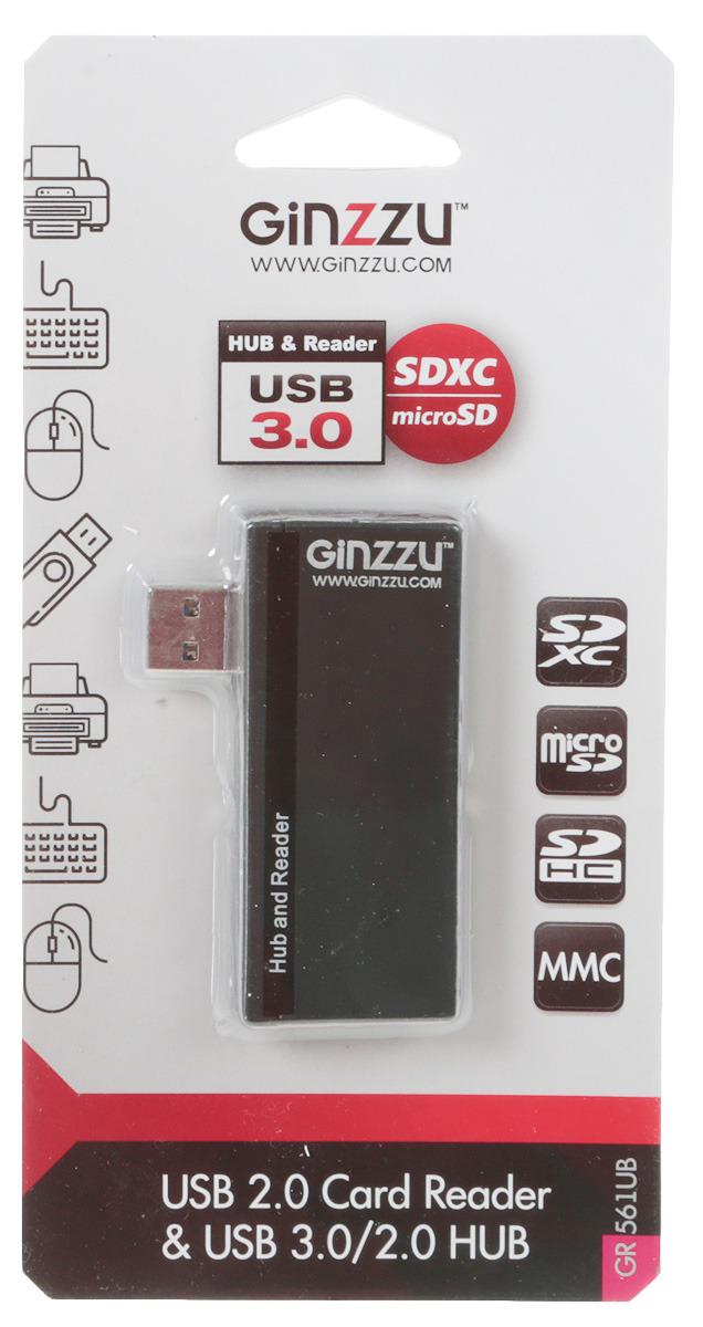 Картридер Ginzzu Hub EXT, GR-561UB, черный концентратор usb 3 0 orient bc 306ps usb 3 0 hub 4 ports c бп зарядником 2xusb 5в 2 1а выключатели на каждый порт черный
