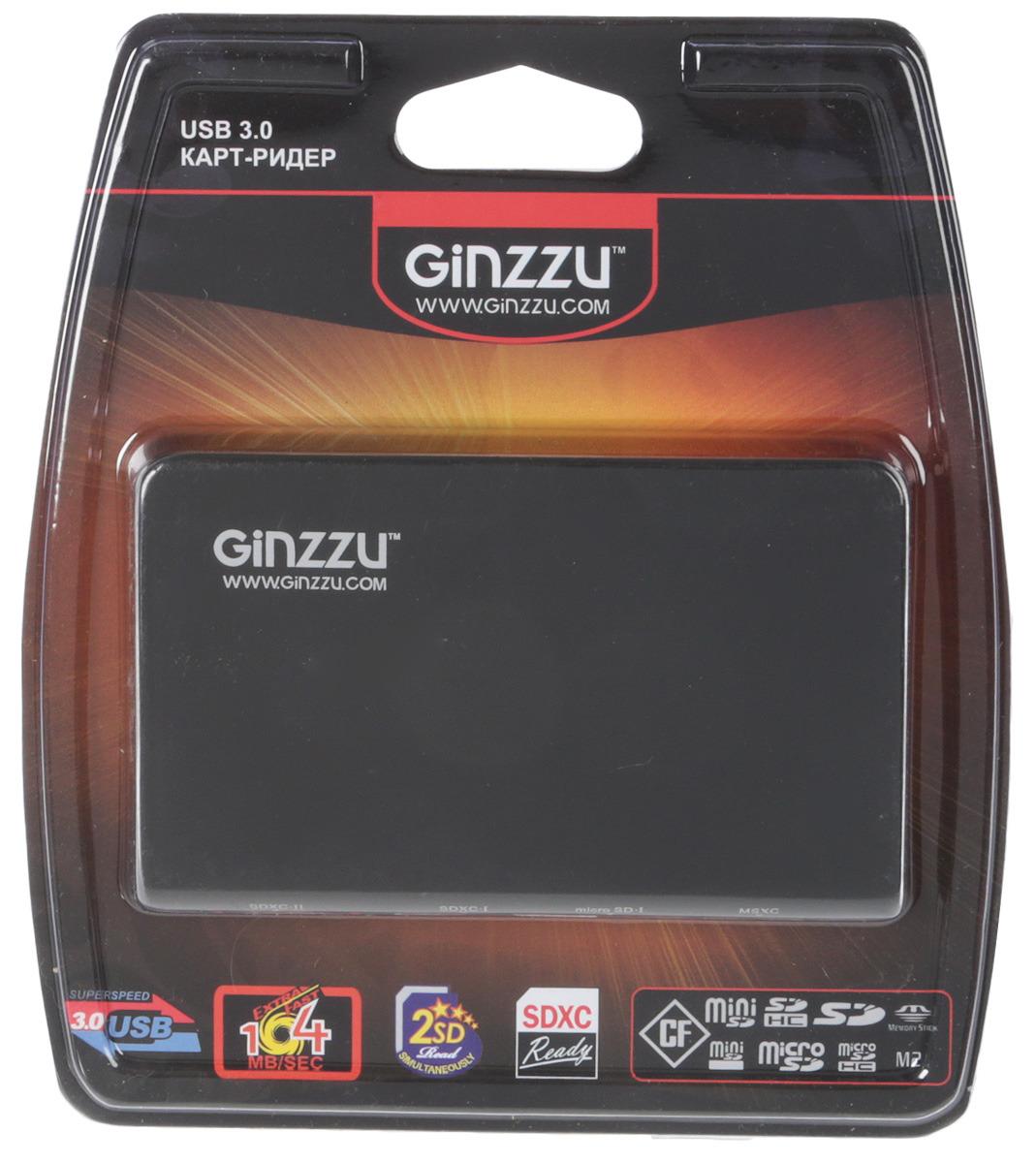 Картридер EXT GR-336B USB 3.0 Ginzzu карт ридер usb 2 0 konoos uk 15 5 разъемов для карт памяти sd mmc sdhc ms m2 xd tf коробк