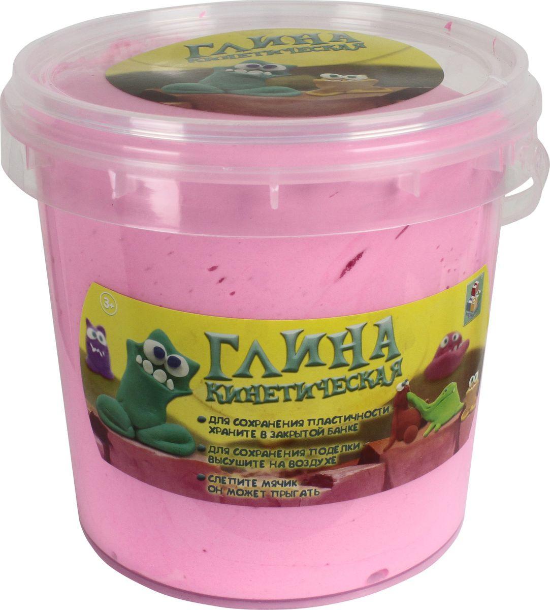 Масса для лепки 1TOY Кинетическая глина, Т11358а, светло-розовый, 200 г кинетическая глина 1toy кинетическая глина синяя 230г т11356