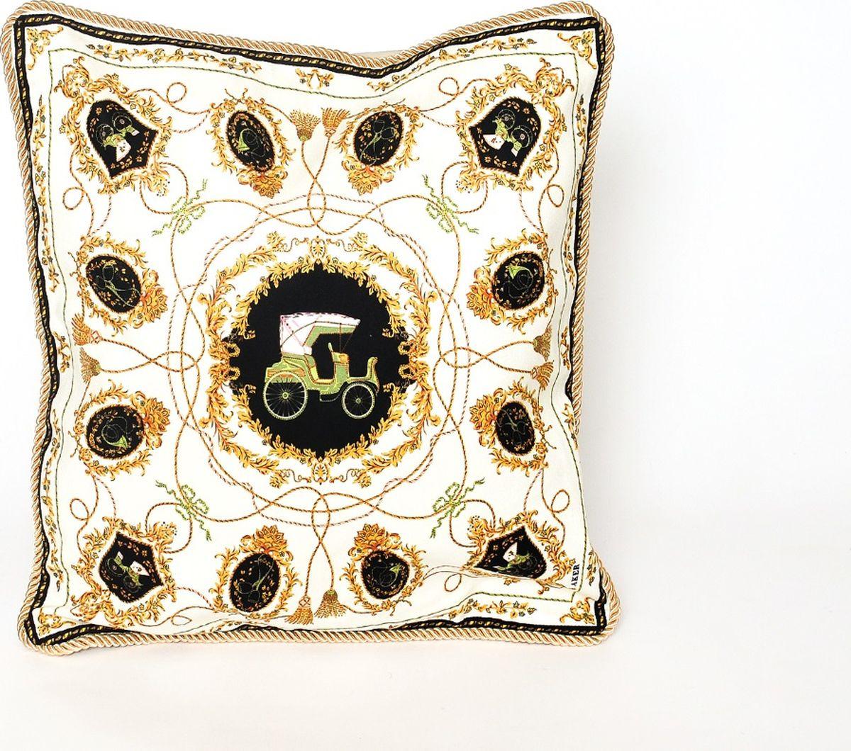 Наволочка декоративная Cleo Пальметта, 45/012-HP, 45х45, белый, черный декоративные подушки tango декоративная наволочка emily 45х45
