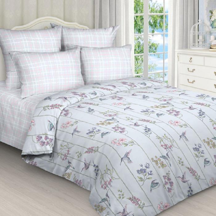 Комплект постельного белья ТК Традиция Pastel, для сна и отдыха, 1201/_Колибри, светло-серый