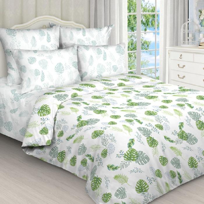 Комплект постельного белья ТК Традиция Pastel, для сна и отдыха, 1201/_Папоротник, белый, зеленый