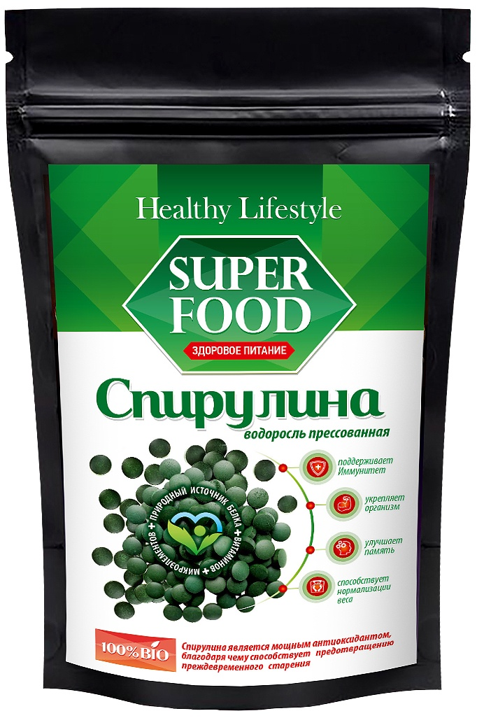Суперфудс Healthy Lifestyle Спирулина прессованная в пакете зип-лок, 150