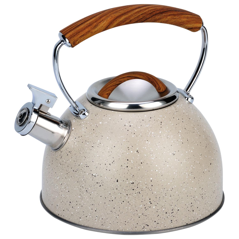 Чайник мет. со свистком BH - 9919 CREAM/3,0л/цвет  светлый мрамор (х12) чайник со свистком bayerhoff bh 425