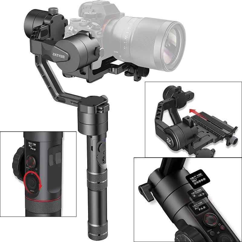 Стабилизатор для камеры Zhiyun Электронный стедикам Zhiyun Crane 2 (V3) + follow focus CMF-01, StcamZhSmCr2CMF01, черный цена