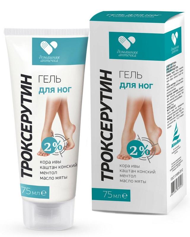 Фото - Гель для ног Домашняя аптечка с троксерутином, 75 мл каменное масло бальзам для тела 75мл для суставов и позвоночника