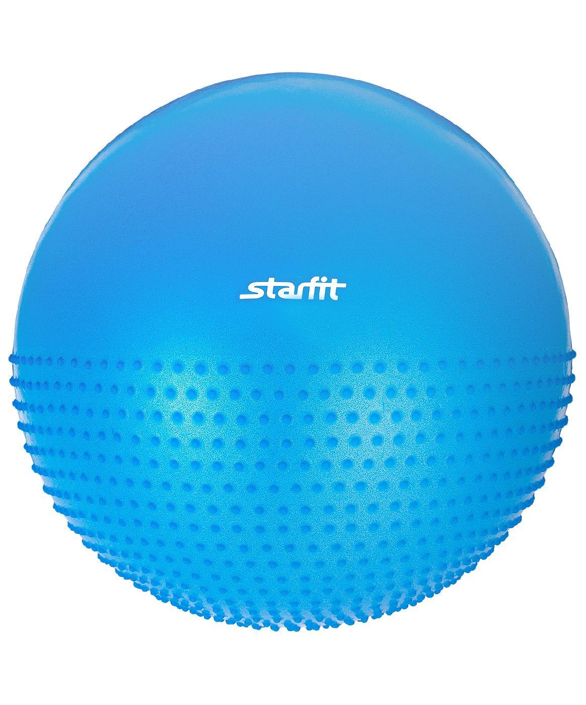 Мяч для фитнеса Starfit Мяч гимнастический полумассажный GB-201 55 см, антивзрыв, синий цена