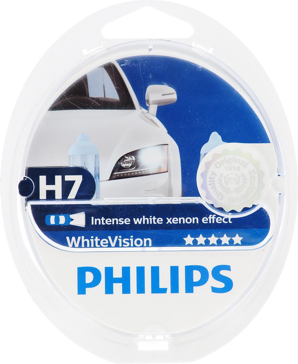 Галогенная автомобильная лампа Philips White Vision 3700K H7 12V-55W абсолютно белый свет +W5W 12V-5W W2,1x9,5d WHV по 2 шт. 12972WHVSM
