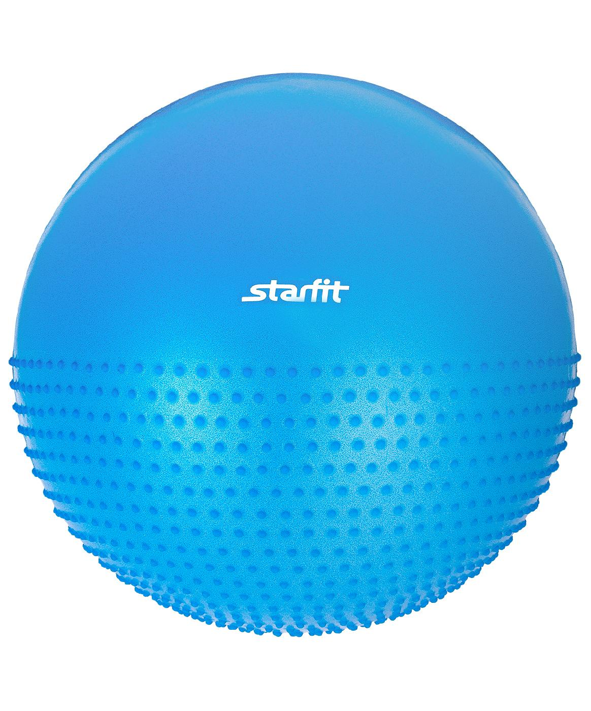 Мяч для фитнеса Starfit Мяч гимнастический полумассажный GB-201 75 см, антивзрыв, синий, синий цена