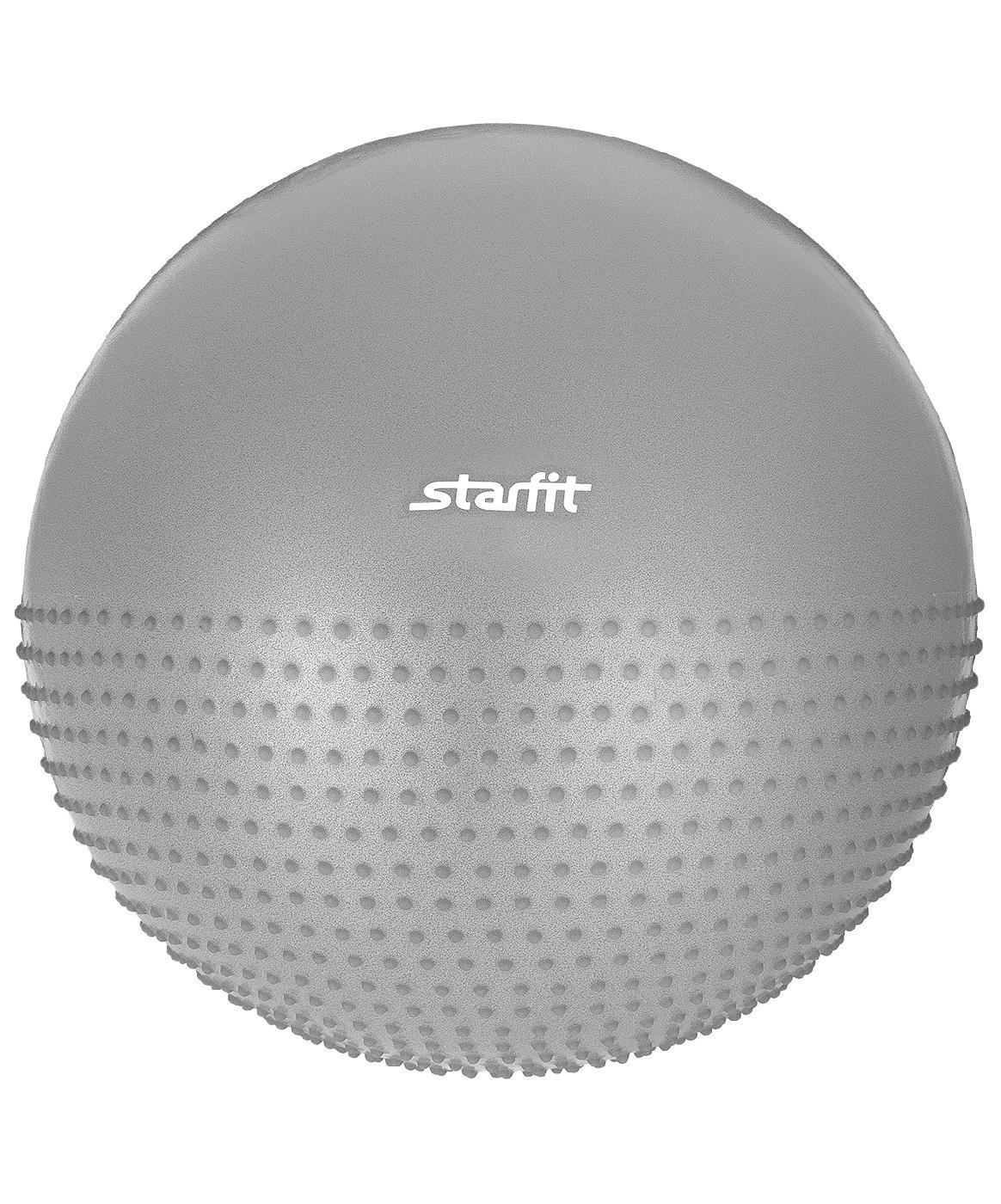 """Мяч для фитнеса Starfit Мяч гимнастический полумассажный Starfit GB-201 75 см, антивзрыв, серый, GB-201 75 см, антивзрыв, серыйGB-201 75 см, антивзрыв, серыйМяч GB-201 - это модель гимнастического полумассажного мяча Starfit. Всегда можно поменять сторону использования с простой гимнастической на массажную и обратно.С помощью мяча полумассажного можно тренировать все мышцы тела, правильно выстроив тренировочный процесс и используя его как основной или второстепенный снаряд (создавая за счет него лишь синергизм действия, а не основу упражнения) для тренировки. А также удобно использовать для массажа мышц с повышенным тонусом.Мяч полумассажный Starfit – незаменимый и один из самых популярных аксессуаров в фитнесе. Его используют как женщины, так и мужчины в функциональном тренинге, бодибилдинге, групповых программах, стретчинге (растяжке).Характеристики:Диаметр, см: 75Материал: ПВХМаксимальный вес пользователя, кг: 100Система """"антивзрыв"""": естьВес без упаковки, кг: 1,3Цвет: серыйТип упаковки: цветная коробкаРазмер упаковки, см: 19х14х26Вес в упаковке, кг: 1,45Количество в упаковке, шт: 1Производство: КНР"""