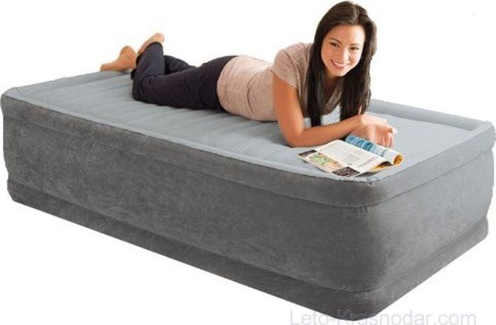 Кровать надувная Intex, с64412, со встроенным насосом, 99 х 191 х 46 см цена 2017