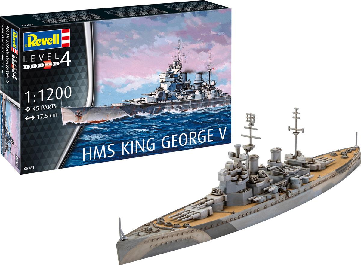 """Сборная модель Revell Линкор HMS King George V, 05161R05161RСборная модель британского линкора HMS King George V от компании Revell в масштабе 1:1200. Вам предлагается собрать уменьшенную копию одного из участников """"охоты"""" на немецкий линкор Бисмарк.Модель должна быть собрана из 45 пластиковых деталей. Стоит отметить, что корпус корабля сделан только до ватерлинии, то есть дно модели плоское.В комплекте Вы найдете детали для сборки модели и инструкцию по сборке. Клей, краски и инструмент для сборки в набор не входят и приобретаются отдельно. Модель рекомендуется для детей в возрасте от 10 лет."""