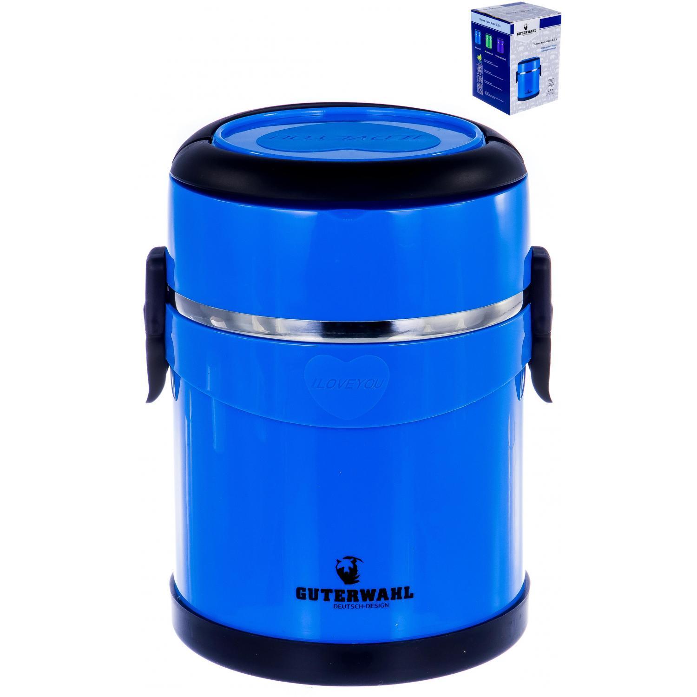 Ланч-бокс GUTERWAHL термо-ланчбокс 2200мл, синий119-25016термо ланч-бокс 2200мл, пластик PP, нержавеющая сталь, вспененный материал PU между стенками, силиконовый ободок на крышке, цветная упаковка