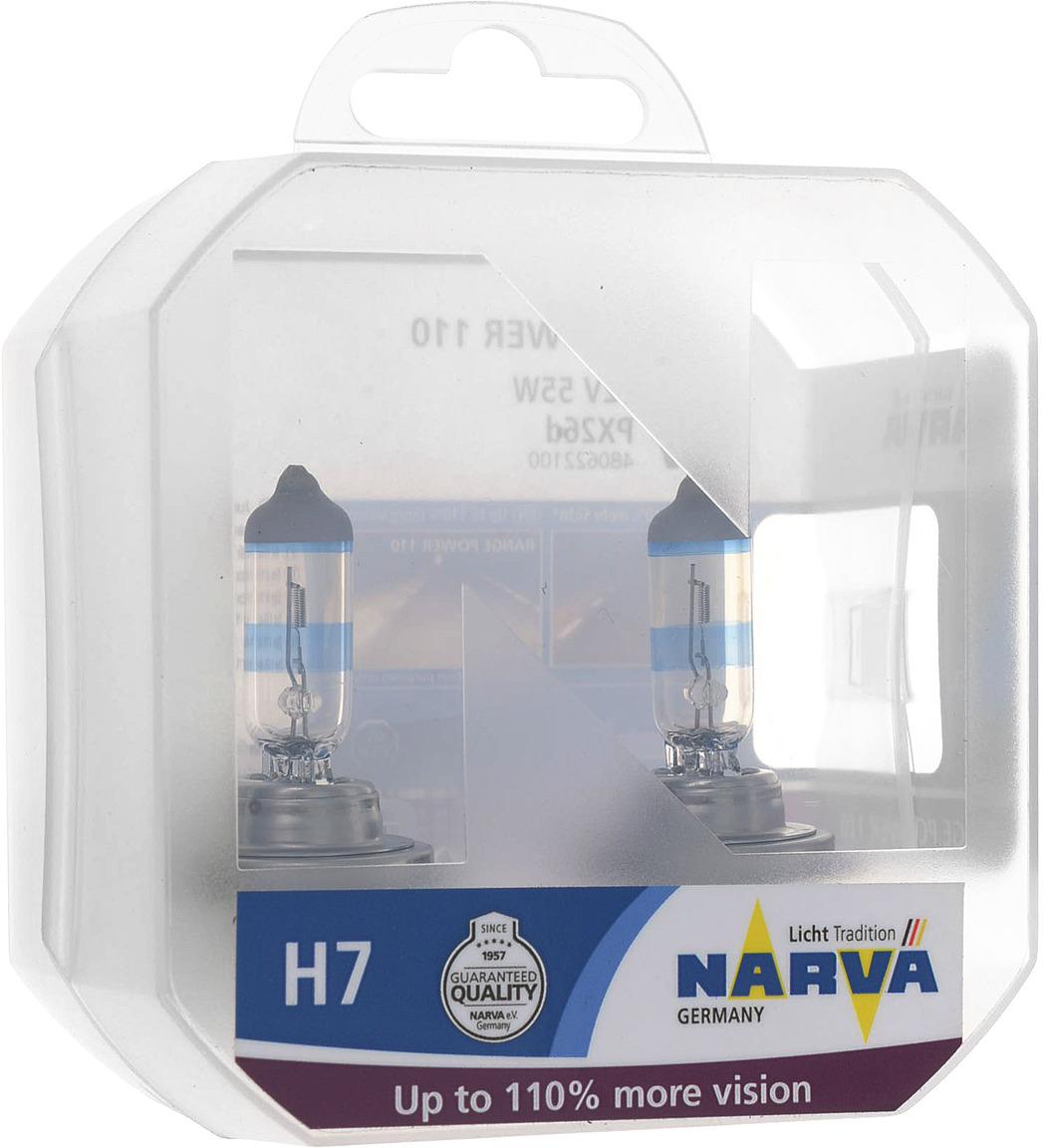 Лампа автомобильная галогенная Narva RangePower +110, цоколь H7, 55 Вт, 2 шт галогенная автомобильная лампа narva h7 12v 55w 1шт 48328