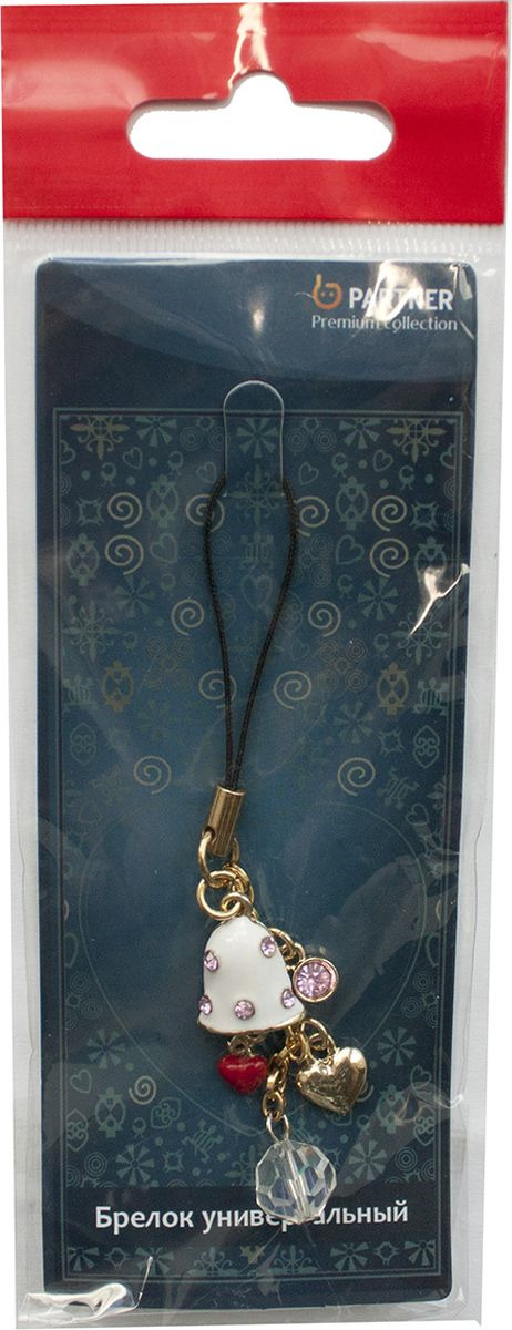 Брелок для телефона Partner Колокольчик с цепочкой, 22537, серый металлик