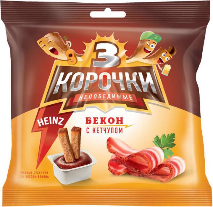 Сухарики ржаные 3 Корочки Бекон + кетчуп, 60/25 г сухарики ржаные русские сухарики фермерская сметана 50 г