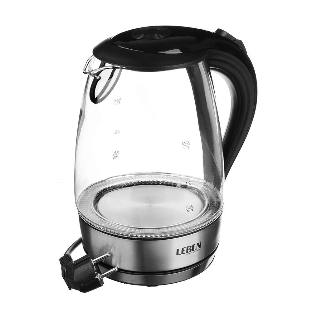 Электрический чайник LEBEN 291061, черный чайник leben 291 056