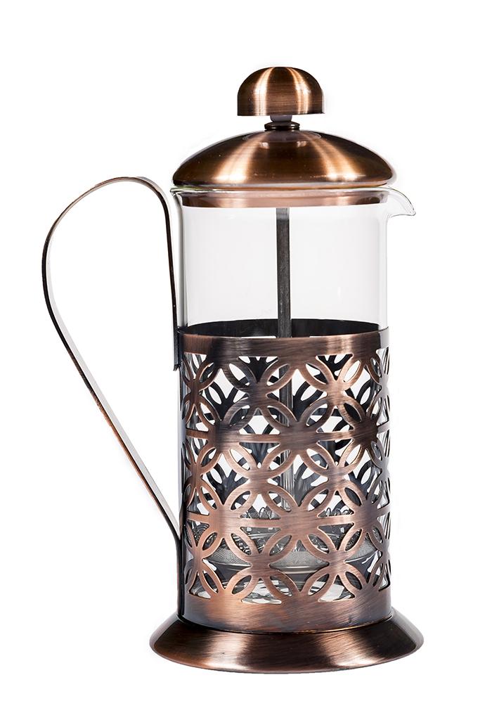 Френч-пресс Kukina Raffinata Круги, 100474, бронза100474Френч-пресс изготовлен из термостойкого боросиликатного стекла и нержавеющей стали - это заварочный чайник для приготовления кофе или чая методом настаивания и отжима. Френч-пресс оснащен ручкой для удобства и имеет специальный поршень с фильтром из нержавеющей стали для отделения чайных листьев или кофе от воды. Для удобства мытья можно вытащить колбу. Допускается мыть в посудомоечной машине. Объем - 600 мл.