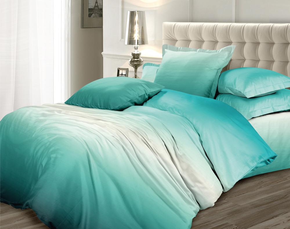 Комплект постельного белья Унисон Омбре Luxury. Изумрудная сказка, 417371, 2-спальный, наволочки 50x70 комплект постельного белья унисон омбре luxury воздушная лаванда 386915 1 5 спальный наволочки 70x70