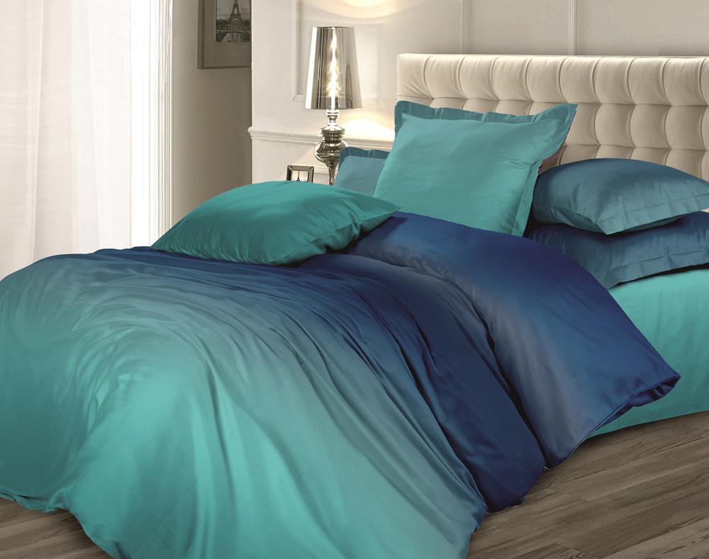 Комплект постельного белья Унисон Омбре Luxury. Морской бриз, 464905, 2-спальный, наволочки 70x70 комплект постельного белья унисон омбре luxury воздушная лаванда 386915 1 5 спальный наволочки 70x70