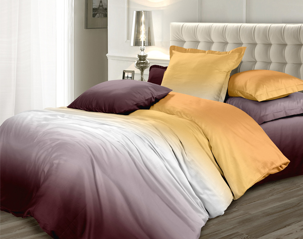 Комплект постельного белья Унисон Омбре Luxury. Осенняя соната, 477970, евро, наволочки 70х70 комплект постельного белья унисон омбре luxury воздушная лаванда 386915 1 5 спальный наволочки 70x70