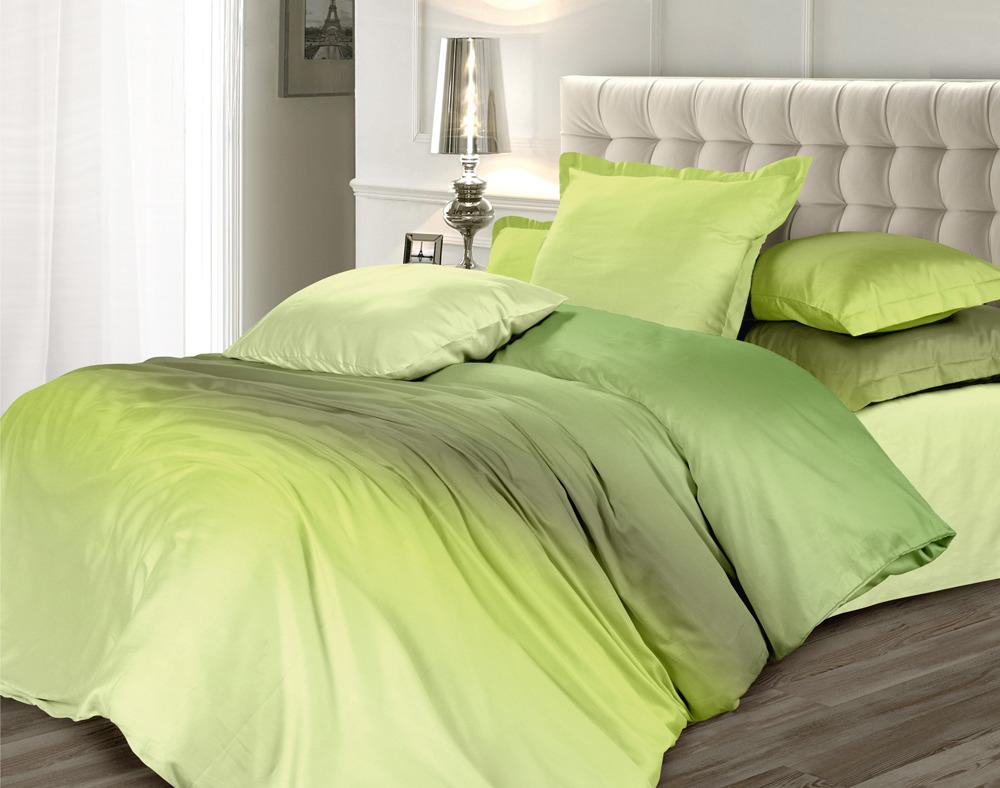 Комплект постельного белья Унисон Омбре Luxury. Оливковый сорбет, 486752, 2-спальный, наволочки 70x70 комплект постельного белья унисон омбре luxury воздушная лаванда 386915 1 5 спальный наволочки 70x70