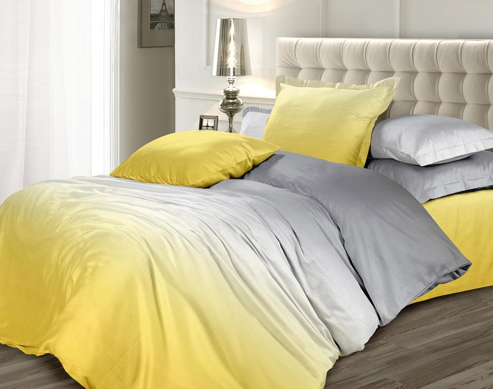 Комплект постельного белья Унисон Омбре Luxury. Желтый шафран, 505397, 1,5-спальный, наволочки 70x70 комплект постельного белья унисон омбре luxury воздушная лаванда 386915 1 5 спальный наволочки 70x70