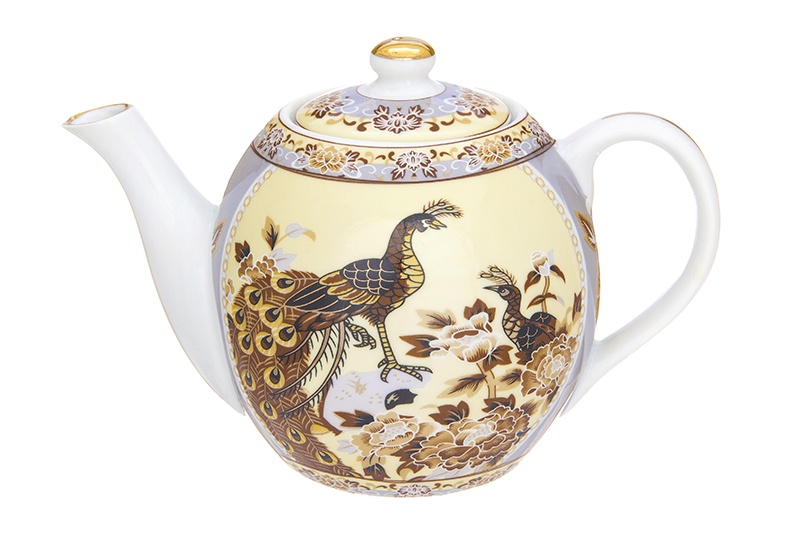 Чайник заварочный Elan Gallery Павлин на бежевом, 730682, бежевый, коричневый чайник с металлическим ситом elan gallery павлин 900 мл 471325