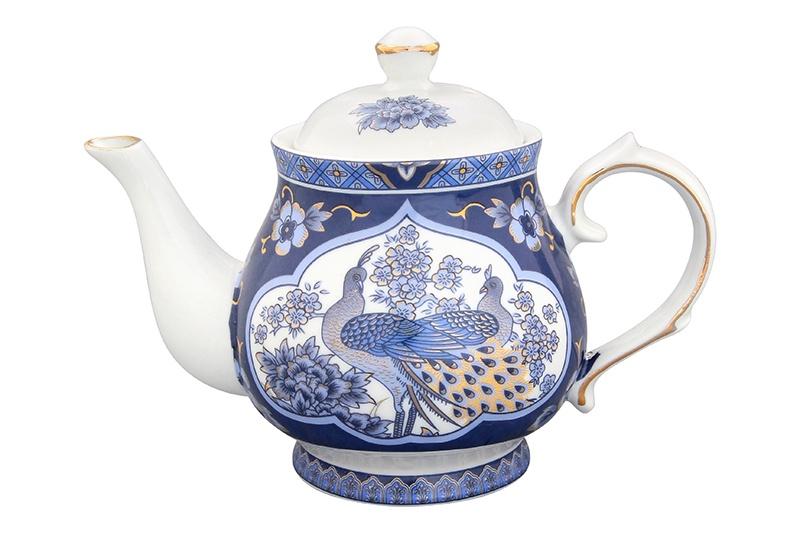 Чайник заварочный Elan Gallery Павлин синий, синий, белый elan gallery чайник с металлическим ситом павлин на золоте
