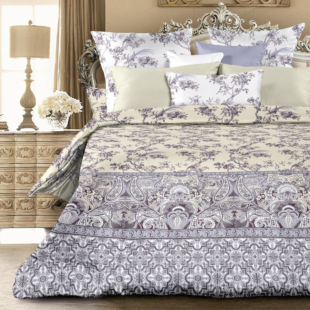 Комплект постельного белья Унисон Лазурный сад, 552826, евро, наволочки 70х70 комплект постельного белья унисон криолло