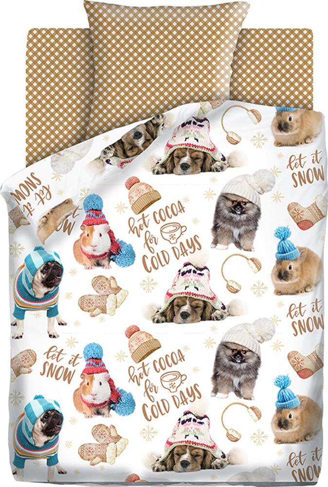 Комплект постельного белья детский 4You Зимние животные, 559170, 1,5-спальный, наволочки 50x70