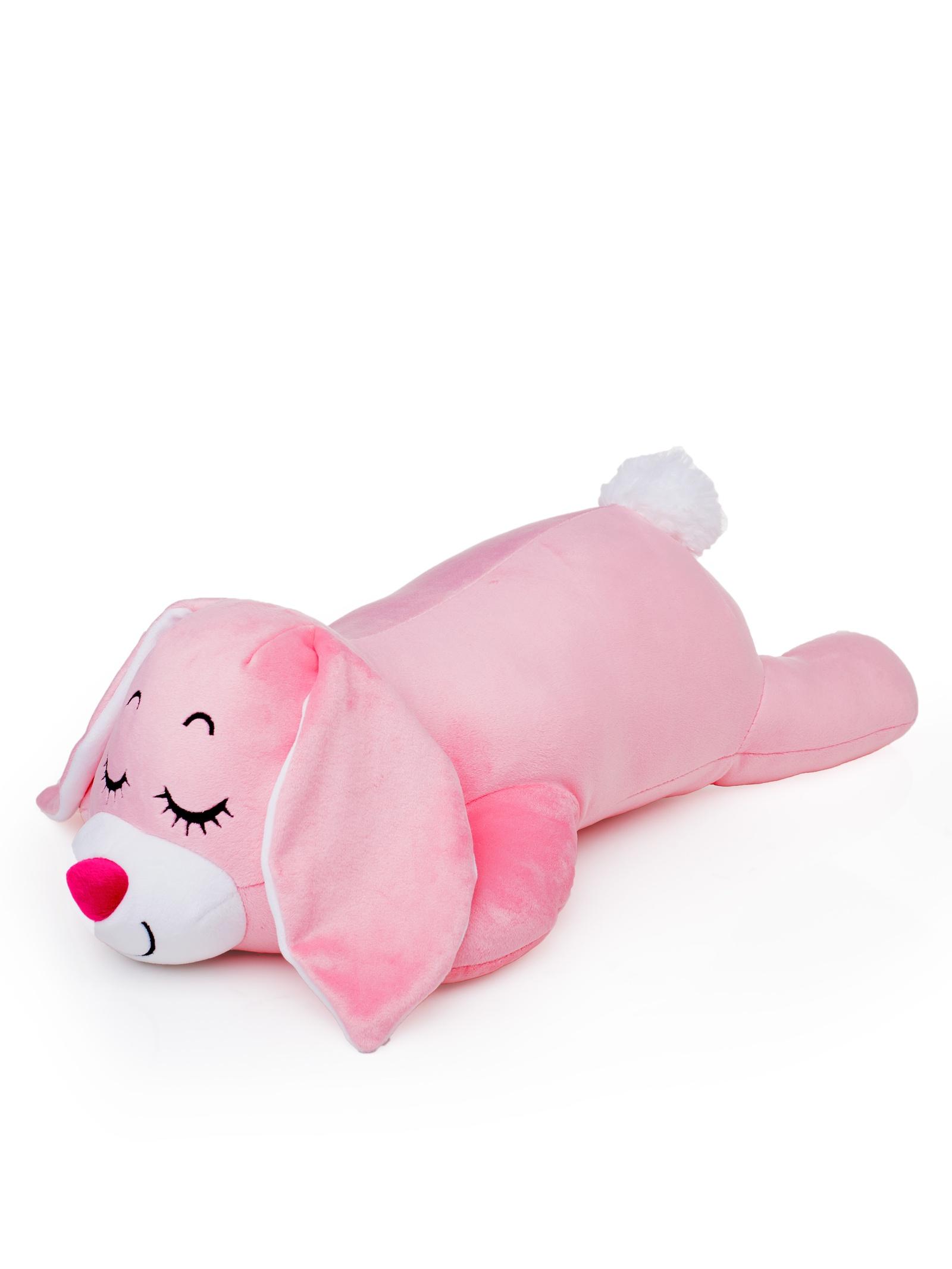 Мягкая игрушка СмолТойс Зайчонок Лежебока длина 47см светло-розовый